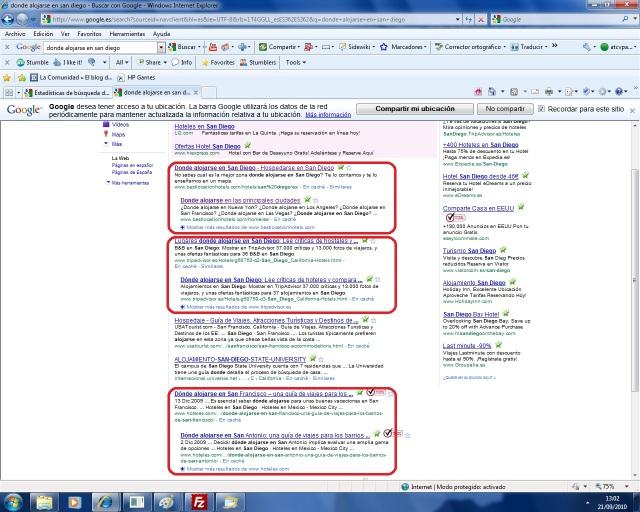 Dos resultados en la primera pagina de Google